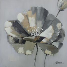 80 x 80 cm - Olieverfschilderij - Bloem - handgeschilderd