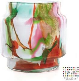 Design vaas Puccini - Fidrio MIXED COLOURS - glas, mondgeblazen bloemenvaas - diameter 11,5 cm hoogte 15 cm