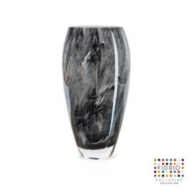 Design vaas Fidrio - glas kunst sculptuur - Nero - Oval - mondgeblazen - 30 cm hoog --