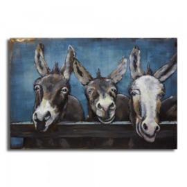120 x 80 cm - 3D art Schilderij Metaal ezels  - handgeschilderd