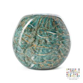 Design vaas Fidrio - glas kunst sculptuur - Coco - dark ocean - mondgeblazen - 21 cm hoog --