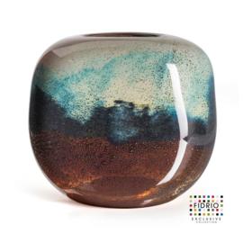 Design vaas Fidrio - glas kunst sculptuur - coco - Moonlight - mondgeblazen - 21 cm hoog --