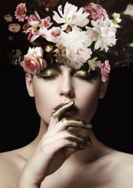 80 x 120 cm - Glasschilderij - schilderij fotokunst - vrouw met bloemen - foto print op glas