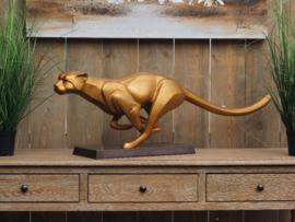 Tuinbeeld - bronzen beeld - Dravende jaguar - Bronzartes - 32 cm hoog
