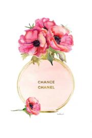 60 x 80 cm - Glasschilderij - schilderij - Chanel fles - met goudfolie - foto print op glas --