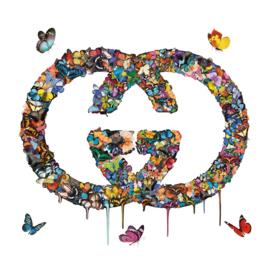 100 x 100 cm - glasschilderij - Logo Gucci - schilderij fotokunst - foto print op glas
