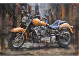 120 x 80 cm - 3D art Schilderij Metaal - Oranje motor - handgeschilderd