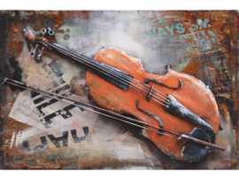 60 x 40 cm - 3D art Schilderij Metaal - viool cello - muziek handgeschilderd
