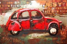 120x80 cm - 3D art Schilderij Metaal Oldtimer - Citroën 2CV - handgeschilderd