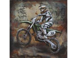 100 x 100 cm - 3D art Schilderij Metaal - Crossmotor - handgeschilderd
