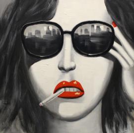 100 x 100 cm - Olieverfschilderij - Vrouw met zonnebril  - handgeschilderd