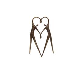 Beeld brons - sculptuur - figuur - het hart op de juiste plaats - 16 cm hoog - Martinique --
