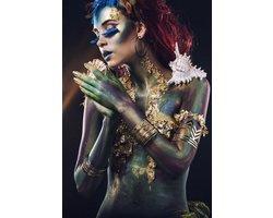 110 x 160 cm - Glasschilderij - Fantasy photography, vrouw met schelpen - schilderij fotokunst - foto print op glas