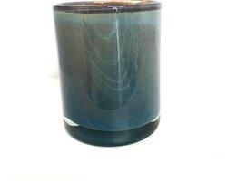 Design vaas Cilinder lagoon - Fidrio UNI COLOUR - glas, mondgeblazen bloemenvaas - diameter 16,5 cm hoogte 13,5 cm