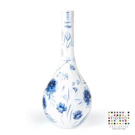 Design vaas Fidrio - glas kunst sculptuur - Bottle delfts blauw - handgeschilderd - 60 cm hoog