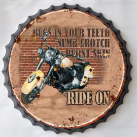 rond 33 cm - Wanddecoratie schilderij bierdop kroonkurk - reclame Motor