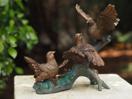 Tuinbeeld brons - beeld  Vogels op tak - Bronzartes