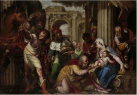 Plexiglas Schilderij - Aanbidding van de Wijzen - 120x80 cm