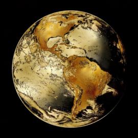 100 x 100 cm - Glasschilderij - schilderij fotokunst - Wereldbol - UV geprint - foto print op glas --