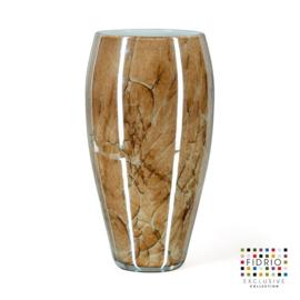 Design vaas Fidrio - glazen sculptuur - Marmi - Oval - glas - mondgeblazen - 40 cm hoog