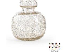 Design vaas Olympia Medium - Fidrio BUBBLES CLEAR - glas, mondgeblazen bloemenvaas - hoogte 20 cm