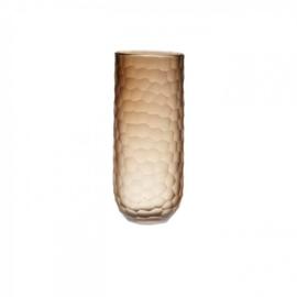 Design vaas Pot & vaas - glas kunst sculptuur - gekleurd glas - Vaas Carved bruin -  28 cm hoog --