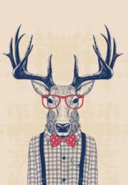 Foto op hout - Hipster hert