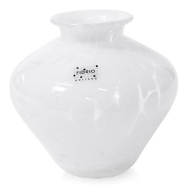 Design vaas Fidrio - glas kunst sculptuur - belly - White granulat - mondgeblazen - 20 cm hoog