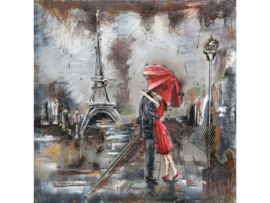 60 x 60 cm - 3D art Schilderij Metaal - Romantiek Frankrijk - handgeschilderd