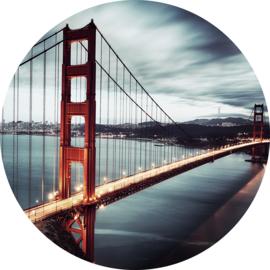 Rond 100 cm - Glasschilderij Golden gate - schilderij glaskunst stadsgezicht - Golden Gate Bridge - foto print op glas