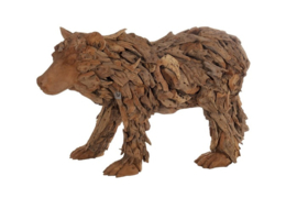 Houten kunst - Beeld - sculptuur - houten bruine beer