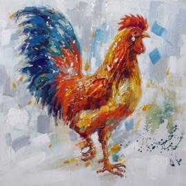 80 x 80 cm - Olieverfschilderij - Haan - handgeschilderd
