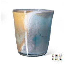 Design vaas Fidrio - glas kunst sculptuur - Sidney - atlantic - mondgeblazen - 25 cm hoog --