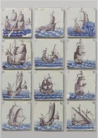 80 x 120 cm - Plexiglas schilderij - Klassieke kunst Hollandese Schepen tegeltjes