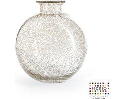 Design vaas Bolvase white neck - Fidrio BUBBLES CLEAR - glas, mondgeblazen bloemenvaas - diameter 23 cm