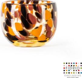 Design kaarshouder Candleholder - Fidrio Havanna - glas, mondgeblazen - diameter 9 cm hoogte 7 cm --