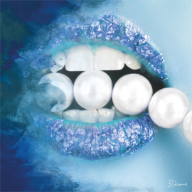 80 x 80 - Schilderij Dibond - Foto op aluminium - Blauwe lippen - Mondiart