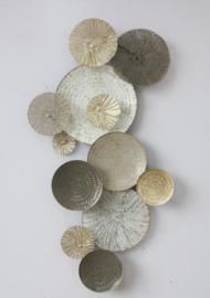 Metalen wanddecoratie - wanddeco - gouden cirkels