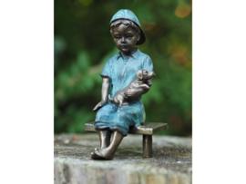 Beeld brons - Jongen op bankje met hondje - Bronzartes - 15 cm hoog - voor huis en tuin
