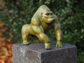Bronzen beeld - Tuinbeeld - beeld  - gorilla - Bronzartes - 27 cm hoog - voor huis en tuin