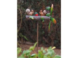 Metalen Tuinsteker - windmolen - eekhoorns