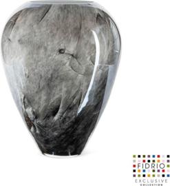 Design vaas Alore XL - Fidrio NERO zwart - glas, mondgeblazen bloemenvaas - hoogte 33 cm --