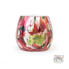 Design vaas Fidrio - glas kunst sculptuur - bloom - Mixed colours - mondgeblazen - 15 cm hoog --