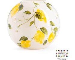Design vaas Bolvase - Fidrio HAND PAINTED LEMON - glas, mondgeblazen bloemenvaas - diameter 40 cm