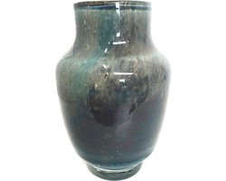 Design vaas Pearl Denim - Fidrio UNI COLOUR - glas, mondgeblazen bloemenvaas - diameter 20 cm hoogte 14 cm