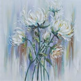 100 x 100 cm - Olieverfschilderij - Bloemen - natuur - handgeschilderd