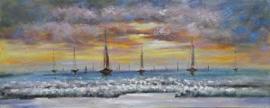 Olieverfschilderij - Schepen - 60x150 cm