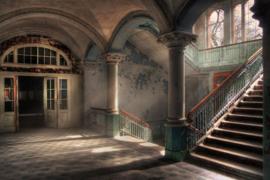 120 x 80 cm - Glasschilderij - schilderij - Verlaten gebouw - foto print op glas --