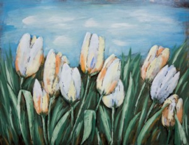 80 x 60 cm - 3D art Schilderij Metaal Tulpen - metaalschilderij - handgeschilderd