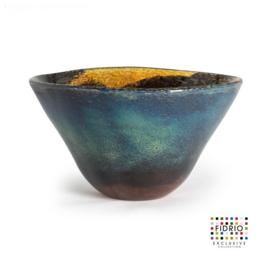 Design vaas Fidrio - glas kunst sculptuur - bowl - Moonlight - mondgeblazen - 20 cm hoog --